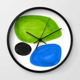 Mid Century Vintage Abstract Minimalist Colorful Pop Art Lime Green Phthalo Blue Black Bubbles Wall Clock