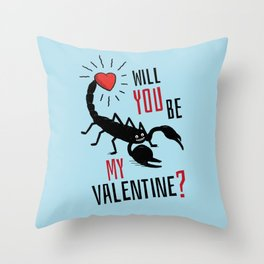 Will You Be My Valentine? Scorpion Love. Throw Pillow