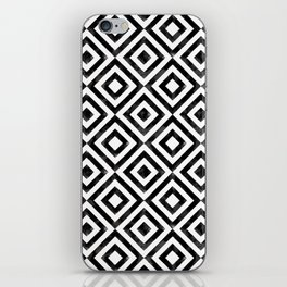 Black and white watercolor diamond pattern iPhone Skin