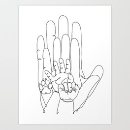Family Hands and Dog Paw Art Print