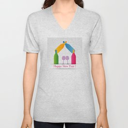 New year greetings with House formed with many colorful bottles and glasses Unisex V-Neck