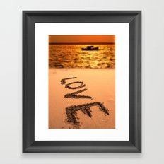 Love Written in the Sand Framed Art Print