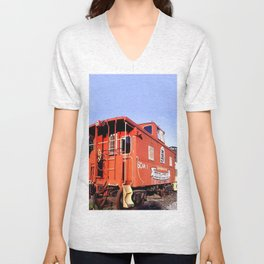 Lil Red Caboose -Wellsboro Ave Hurley ArtRave Unisex V-Neck