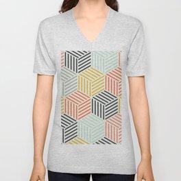 Colorful Geometric Pattern Unisex V-Neck