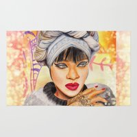rihanna Area & Throw Rugs featuring RIHANNA by Share_Shop