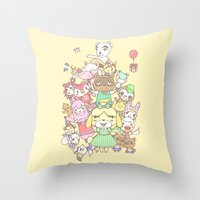 animal crossing Throw Pillows featuring Animal Crossing (yellow) by Siri