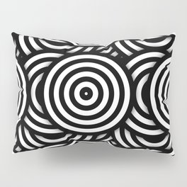 Retro Black White Circles Op Art Pillow Sham