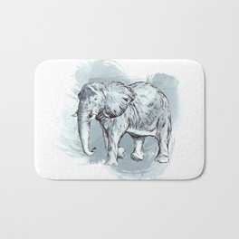Watercolor Elephant Bath Mat