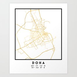 DOHA QATAR CITY STREET MAP ART Art Print