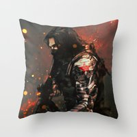 blood Throw Pillows featuring Blood in the Breeze by Alice X. Zhang