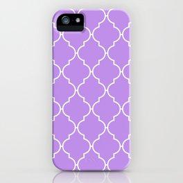 Moroccan Trellis, Latticework - Purple White iPhone Case