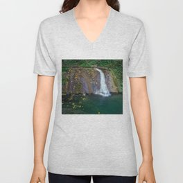 Autumn leaves in the waterfall Unisex V-Neck