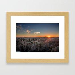 South Dakota Sunset - Dusk in the Badlands Framed Art Print