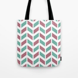 Dusty pink, green and white chevron pattern Tote Bag