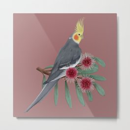 Normal Grey Cockatiel Metal Print