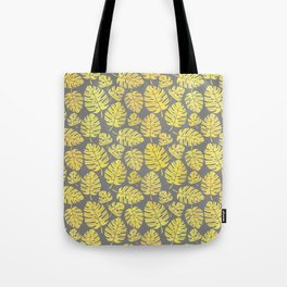 Leaves in Yellow and Grey Pattern Tote Bag