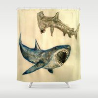 sharks Shower Curtains featuring Sharks by Jen Hallbrown