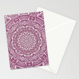 Wine Maroon Ethnic Detailed Textured Mandala Stationery Cards