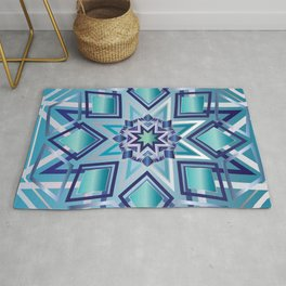 Star Mandala Ice Blue Rug