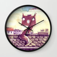 Cats on the roof Wall Clock