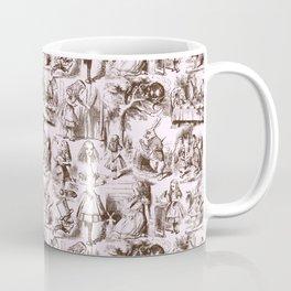 Alice in Wonderland | Toile de Jouy Pattern | Brown | Pink | Vintage Pattern | Victorian Gothic | Coffee Mug