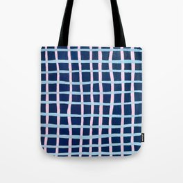 Pink and Blue Grid Tote Bag