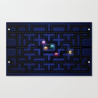 pacman Canvas Prints featuring Pacman by Foxxya