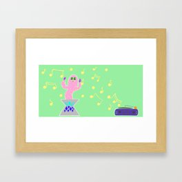 Classic Cactus Dance Party on Vinyl Framed Art Print