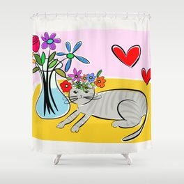 Gray Kitty with flowers Shower Curtain