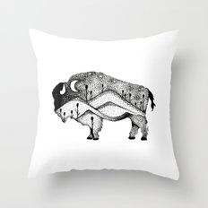 White Bison Spirit Animal Totem Pointillism Throw Pillow
