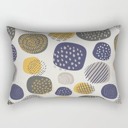 Abstract Circles in Mustard, Charcoal, and Navy Rectangular Pillow