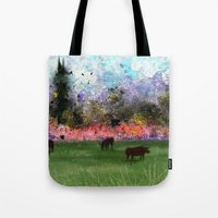 chicago bulls Tote Bags featuring Chicago Skyline and Bulls In Pasture by Jen Hynds