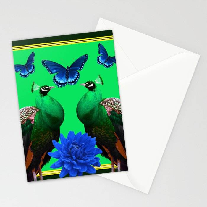 BLUE BUTTERFLIES & GREEN PEACOCKS FLORAL Stationery Cards