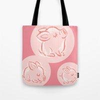 pig Tote Bags featuring Pig by Toru Sanogawa