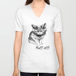 Fluff Off Angry Cat Unisex V-Ausschnitt