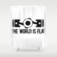 subaru Shower Curtains featuring The World is Flat - Flat Engine by Barbo's Art