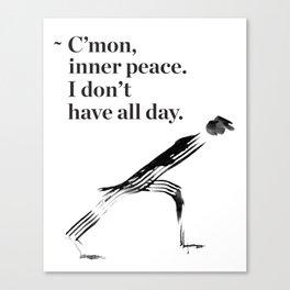 unny yoga print, original yoga art, unique yoga gift, black and white, modern, inner peace, drawing Canvas Print