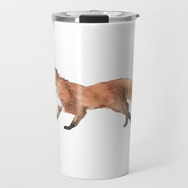 Unique Illustration Of A Fox For Animal Lovers And Owners T-shirt Design Animals Lobo Hyena Sit Travel Mug