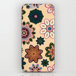Flower retro pattern. Green pink flowers on beige background. iPhone Skin