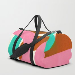 Pink Ochre Marine Green Fun Colorful Mid Century Modern Abstract Painting Shapes Pattern Duffle Bag