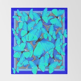 Shades of Turquoise Blue Butterflies Swarming Art Throw Blanket