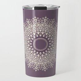 Mandala in Mulberry and White Travel Mug