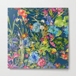 Watercolor flower garden with hummingbird Metal Print