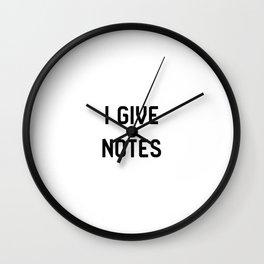 I Give Notes Movie Directors Film School Wall Clock
