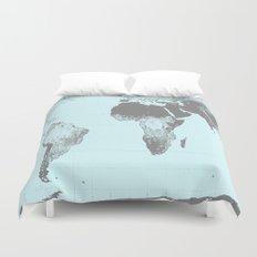 World Map : Gall Peters Aqua Duvet Cover