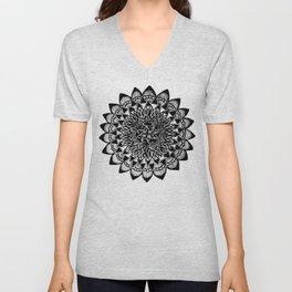 Black and White Hand-Drawn Detailed Mandala Unisex V-Neck