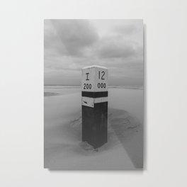 Beach pole 12 - Ameland North Beach photo | peaceful black and white landscape travel photography art print Metal Print