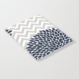 Chevron Floral Modern Navy and Grey Notebook