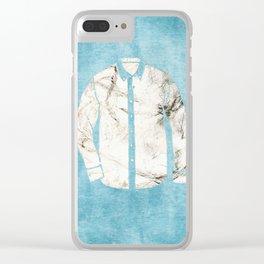 Blue Tshirt Clear iPhone Case