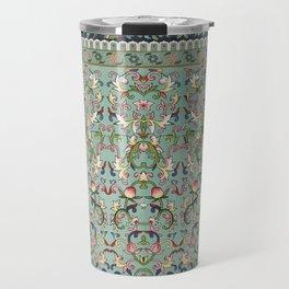 Asian Floral Pattern in Turquoise Blue Antique Illustration Travel Mug